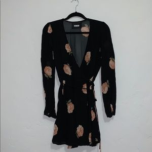 Black Floral Reformation Wrap Dress